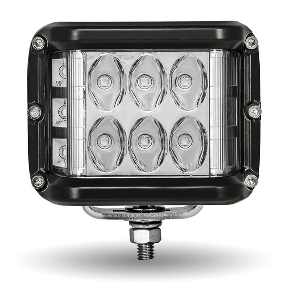 Square Sport Combination LED Spot & Flood Work Lights With Side LEDs Front View