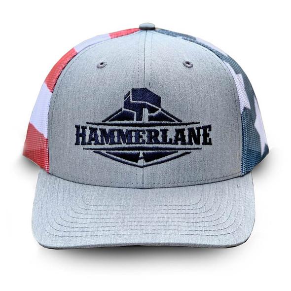 Snapback USA Flag Heather Grey Hammerlane Trucker Hat
