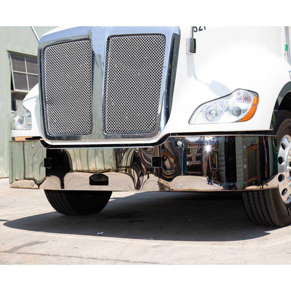 """Kenworth T680 18"""" 304 Stainless Steel Bumper With Tow Holes (Tow Holes)"""
