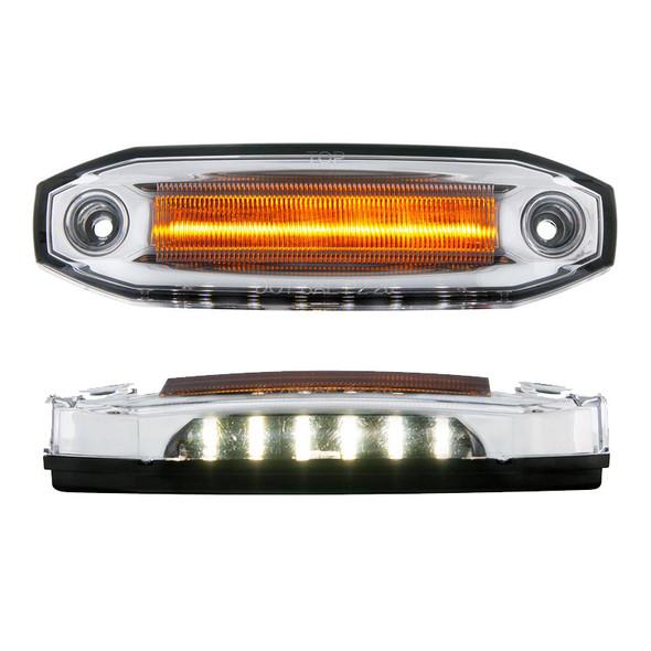12 LED Rectangular Amber Clearance Marker Light - White