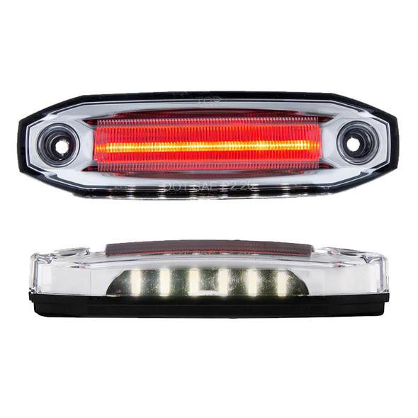 12 LED Rectangular Red Clearance Marker Light - White