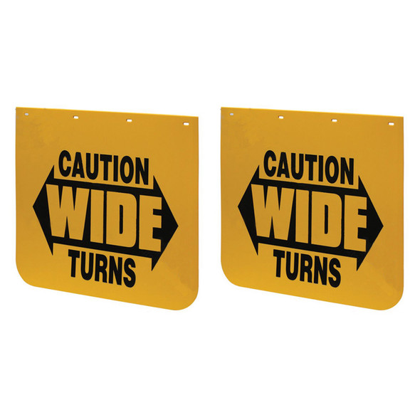 """24"""" X 24"""" Yellow Caution Wide Turns Mud Flap (Pair)"""
