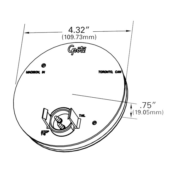 """Grote WhiteLight 4"""" LED Dome Light - Drawing"""