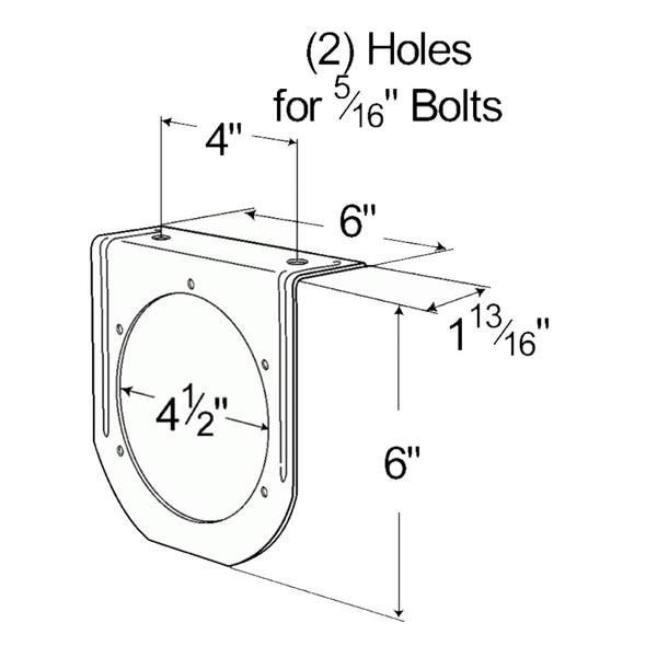 "Grote Steel 4"" Round Light Bracket - Drawing"