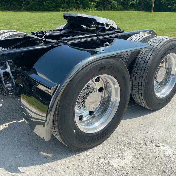 Dark Knight Titanium Stainless Steel Half Tandem Fenders - On Truck