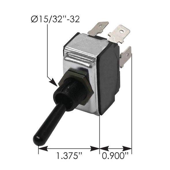 Peterbilt Toggle Switch 1606657 -  Dimensions