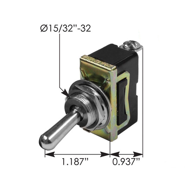 Heavy Duty SPST On Off Toggle Switch BE20085 422675 191402 - Dimensions