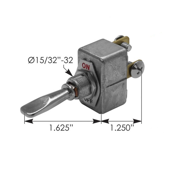 Heavy Duty SPST On Off Toggle Switch 422642 191020 - Dimensions