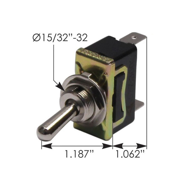 Heavy Duty SPST On Off Toggle Switch 422676 191402Q - Dimensions