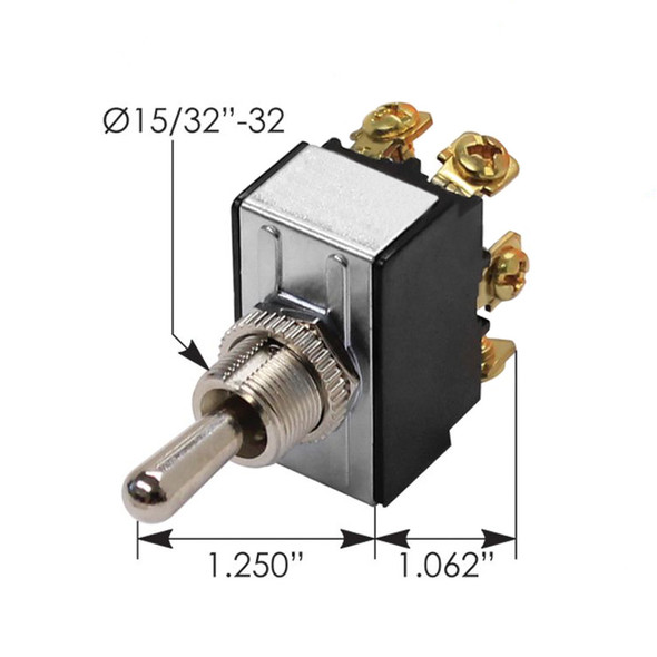 Heavy Duty DPDT Toggle Switch - Dimensions