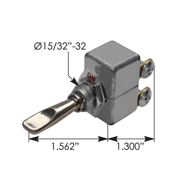 Heavy Duty SPDT On Off On Toggle Switch 191420 090184 - Dimensions