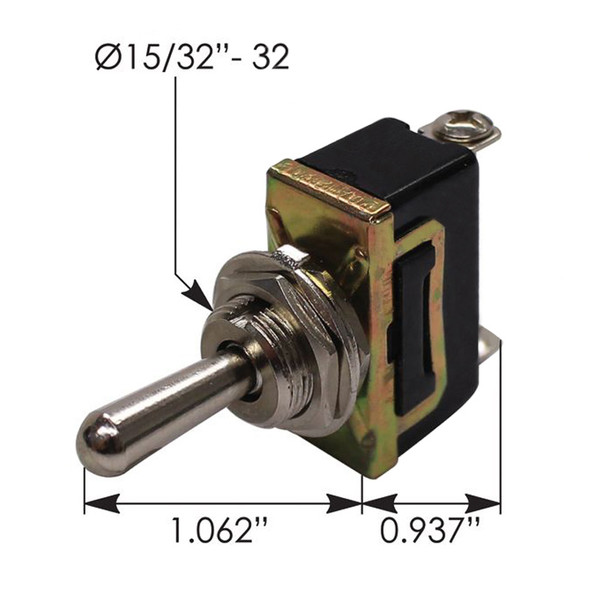 Heavy Duty SPDT On Off On Toggle Switch 422679 191024 - Dimensions