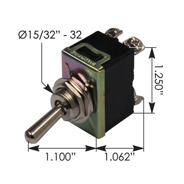 Heavy Duty DPST On Off Toggle Switch 422664 191025 - Dimensions