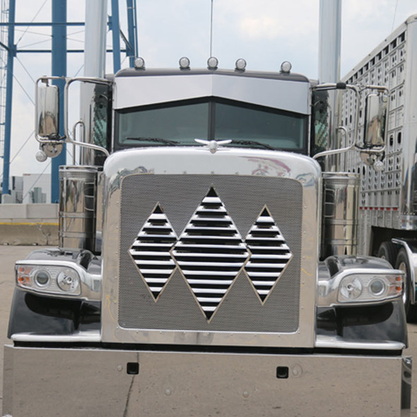 Peterbilt 388 389 Stainless Steel Triple Diamond Louvered Grill Insert By RoadWorks - Close Up