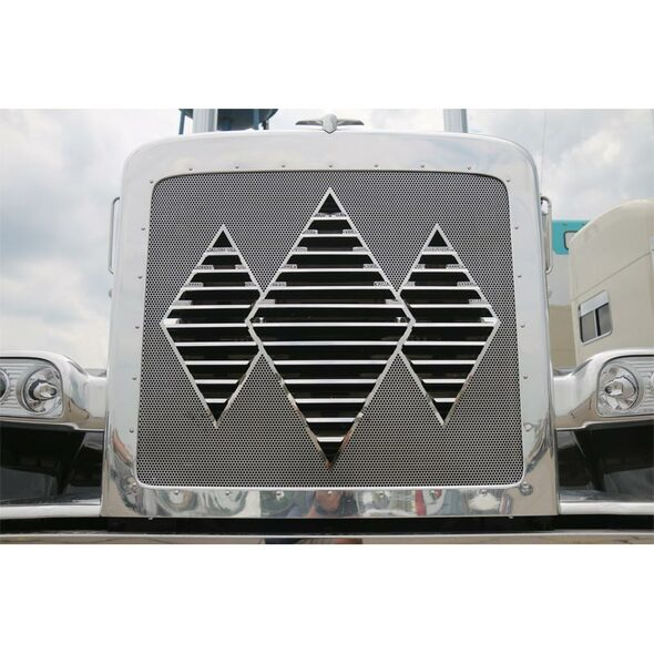 Peterbilt 388 389 Stainless Steel Triple Diamond Louvered Grill Insert By RoadWorks - Upward Angle