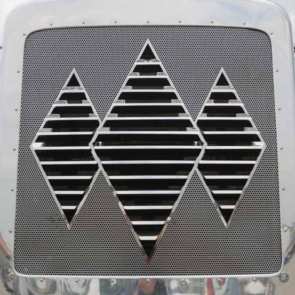 Kenworth W900L Stainless Steel Triple Diamond Louvered Grill Insert By RoadWorks - Forward