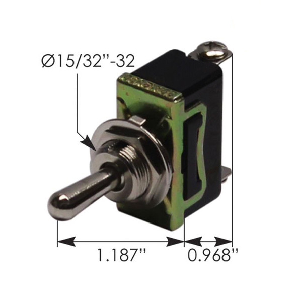 Heavy Duty SPDT On Off On Toggle Switch 422678 191461 - Dimensions
