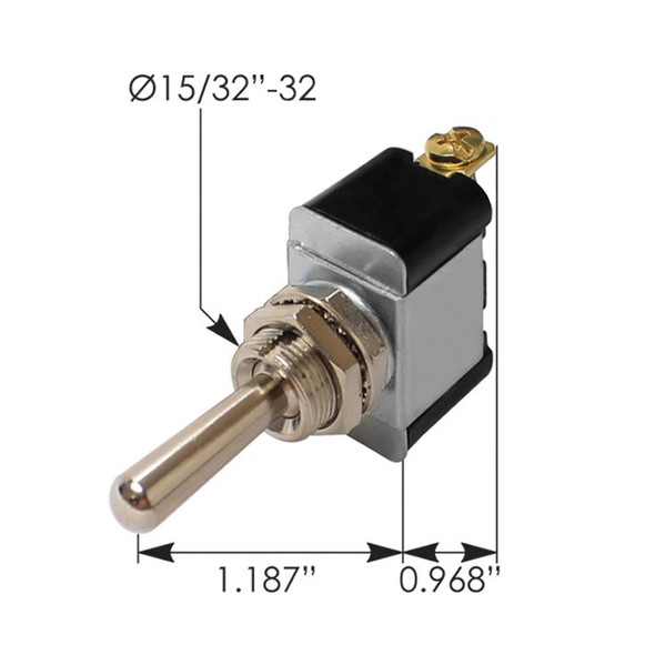 Heavy Duty SPST On Off Toggle Switch 191031 - Dimensions
