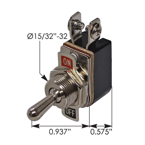 Heavy Duty SPST On Off Toggle Switch 191401 - Dimensions