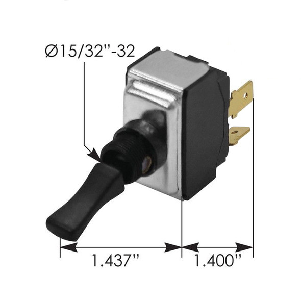 Kenworth Toggle Switch K301270 - Dimensions
