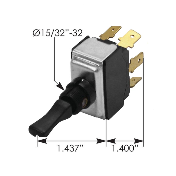 Kenworth Toggle Switch K301317 - Dimensions