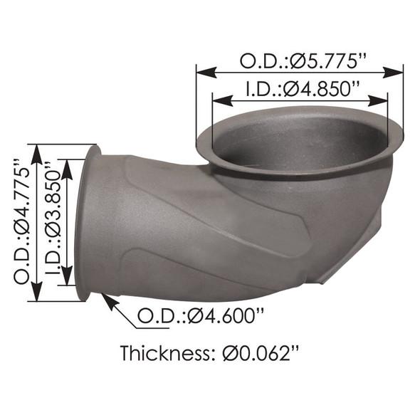 Peterbilt Kenworth Exhaust Inlet Elbow M66-2896 - Dimensions