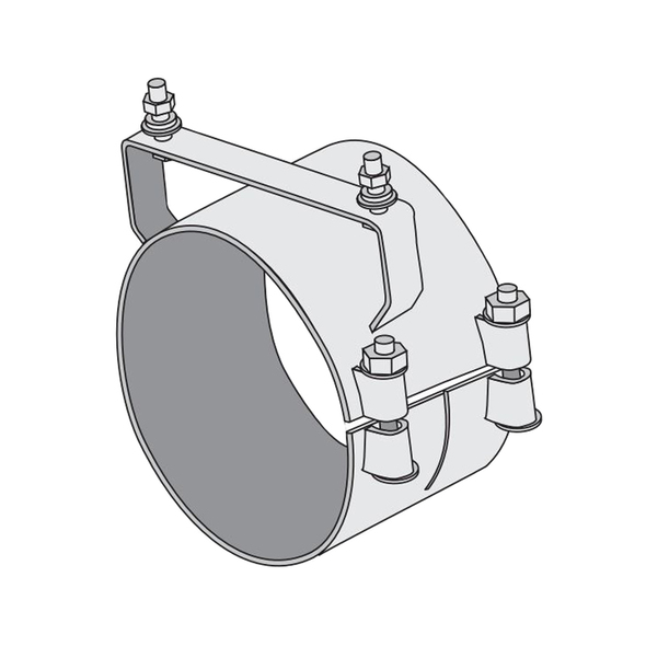 "Dynaflex Chrome 6"" Butt Joint Exhaust Clamp Wide Mount - Default"