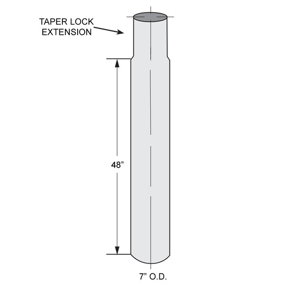 "Dynaflex Chrome Z Series 7"" Center Spool With Taper Lock Extension - 48"" Length - Diagram"