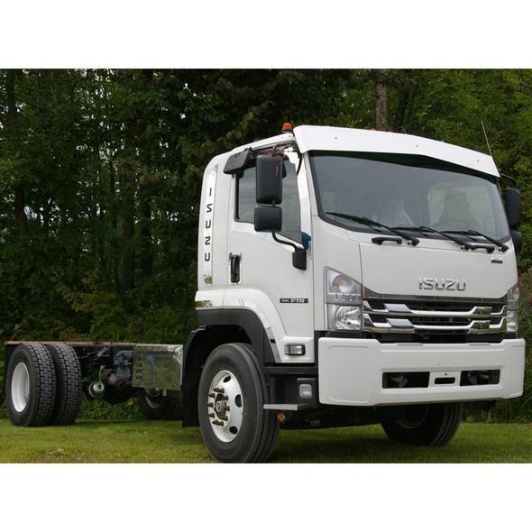 "Isuzu FTR 9.5"" Drop Blank Sunvisor On Truck Close Up"