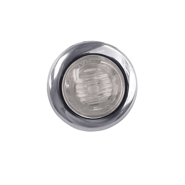 "3/4"" Mini Button Dual Revolution Amber & Pink LED Marker Light - Off"