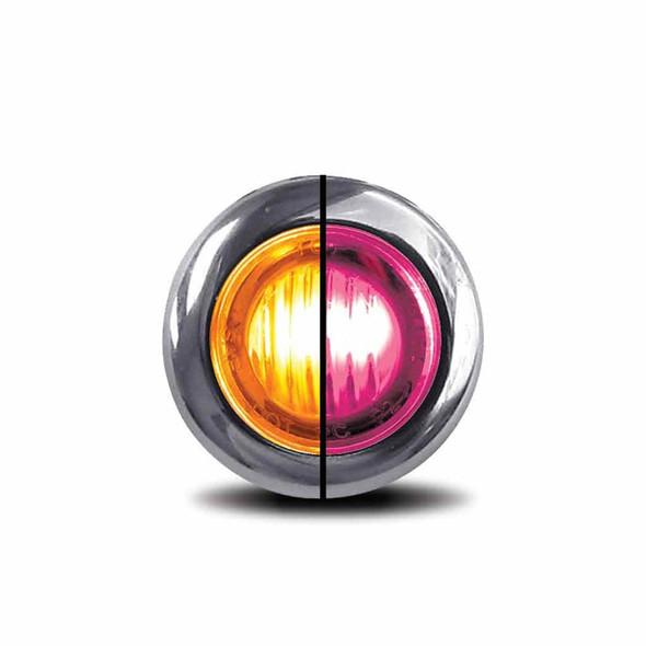 "3/4"" Mini Button Dual Revolution Amber & Pink LED Marker Light - Default"