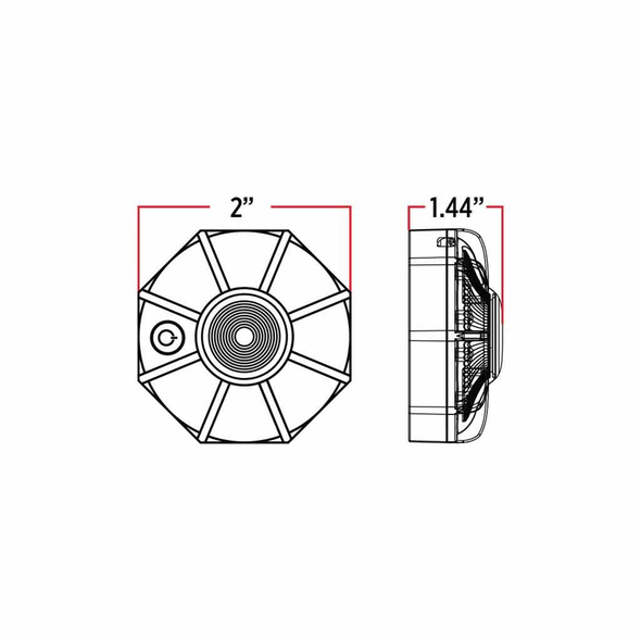 "2"" Dual Color Amber White Magnetic Strobe LED Hazard Light - Measurements"