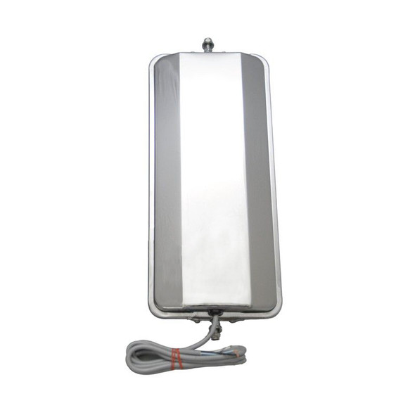 """West Coast Mirror Convex 7"""" X 16"""" Stainless Steel Heated Back View"""
