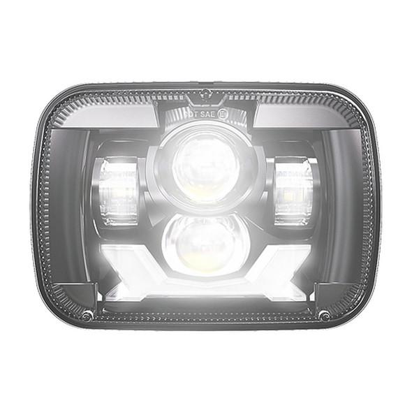 "5"" x 7"" Rectangular Black Headlight With DRL & Turn Light LED On"
