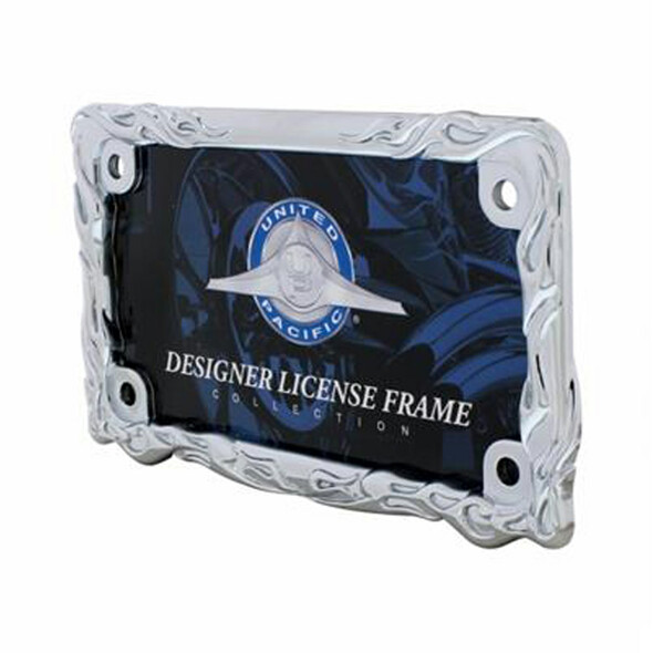 Motorcycle Chrome Flame License Plate Frame - Angled