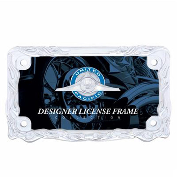 Motorcycle Chrome Flame License Plate Frame - Front
