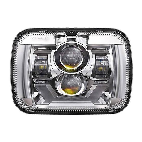 "5"" x 7"" Rectangular Chrome Projector Headlight With DRL & Turn Light"