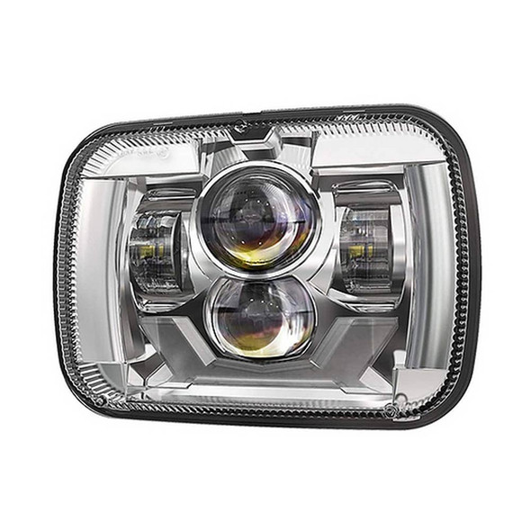 """5"""" x 7"""" Rectangular Chrome Projector Headlight With DRL & Turn Light Right View"""