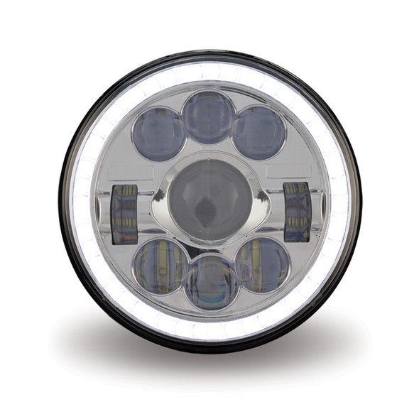 """7"""" Round Projector LED Headlight With Auxiliary Halo Ring"""