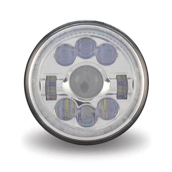 """7"""" Round Projector LED Headlight With Auxiliary Halo Ring LED Off"""