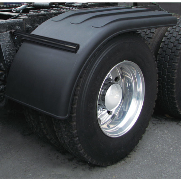 """Semi Truck 66"""" Black Poly Half Fenders With Black Economy Mounting"""