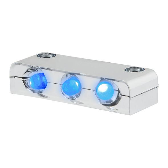 3 Blue LED Step Light With Chrome Housing