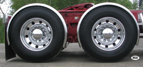 "95"" Super Long Stainless Steel Single Axle Fenders Side View"