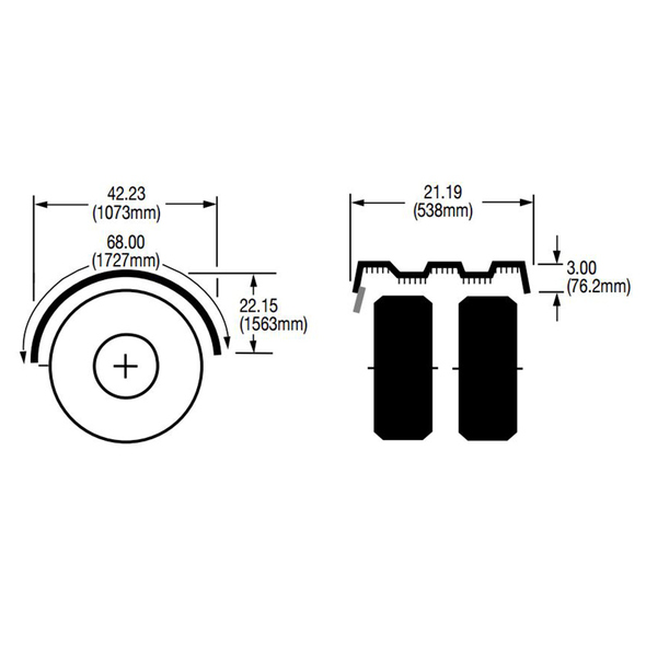 "Black Spray Master FRX Series Single Axle Poly Fenders For 19.5"" Wheels - Diagram"