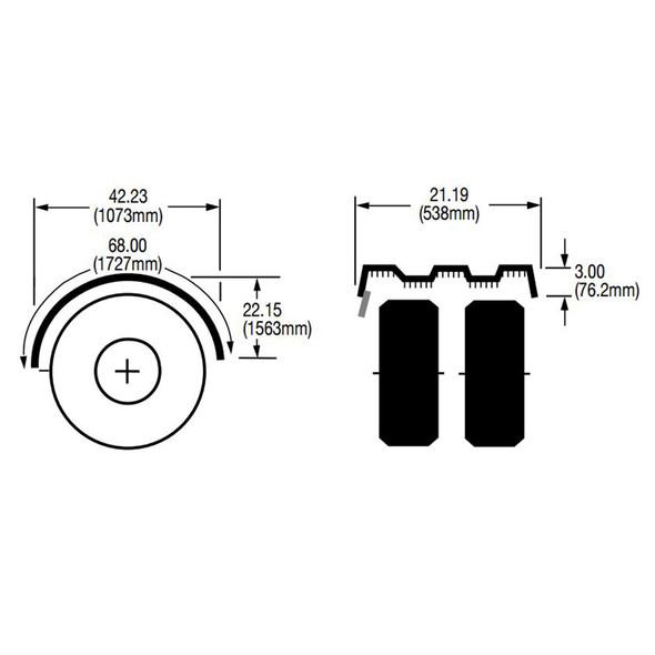"Grey Spray Master FRX Series Single Axle Poly Fenders For 19.5"" Wheels - Diagram"