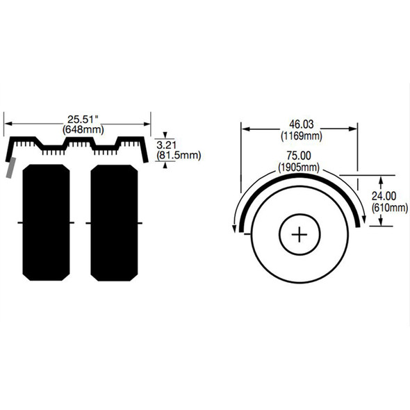 """Navy Blue Spray Master Poly Truck Fenders For 22.5"""" Or 24.5"""" Wheels - Diagram"""