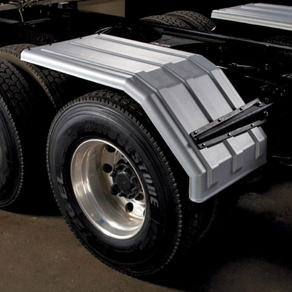 Poly Truck Half Fenders Square Back Galvanized Color Minimizer 1550 Fender Series (Mounted)