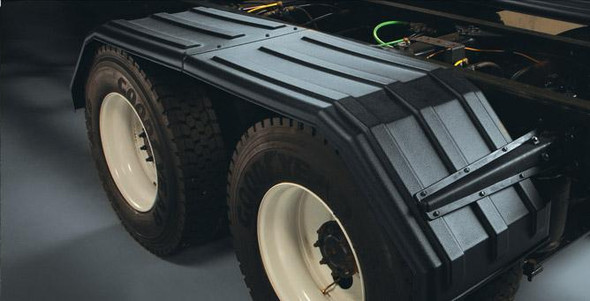 """Minimizer Poly Truck Fenders Tandem Axle Black Square Bruiser 52"""" 1500 Series (Installed)"""