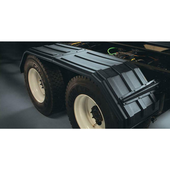 """Minimizer Poly Truck Fenders Tandem Axle Black Square Bruiser 54"""" 1554 Series (Installed)"""