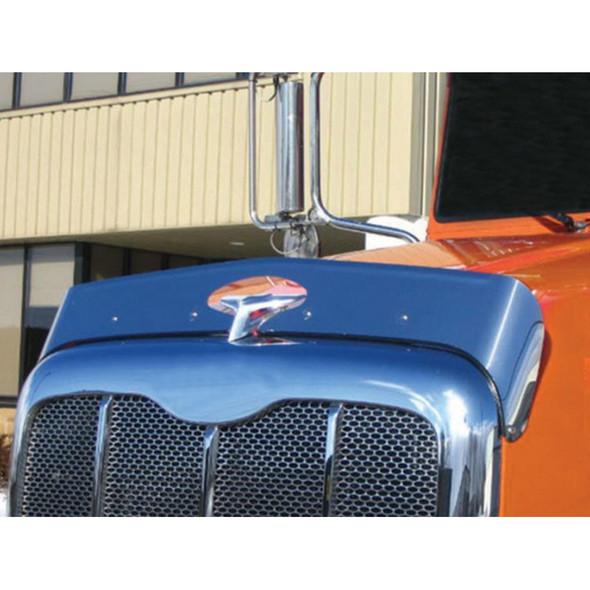 Peterbilt 386 Hoodshield Bug Deflector On Orange Truck